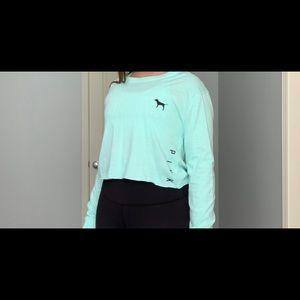 Light Blue VS Pink Ling-Sleeve Cropped Shirt
